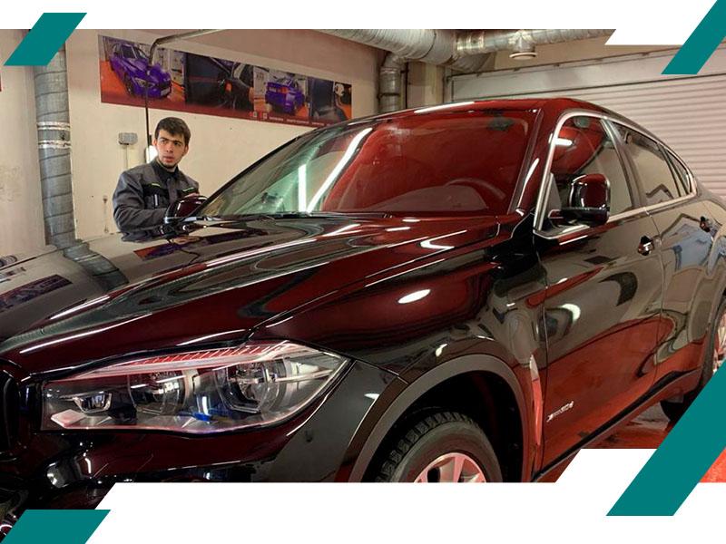 Удаление вмятин на крыше BMW фото